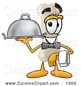 Cuisine Clipart of a Happy Bone Mascot Cartoon Character Dressed As a Waiter and Holding a Serving Platter by Toons4Biz