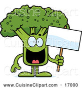 Cuisine Clipart of a Happy Broccoli Mascot Holding a Sign by Cory Thoman
