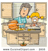 Cuisine Clipart of a Happy Brother and Sister Carving a Pumpkin in the Kitchen by Djart