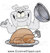 Cuisine Clipart of a Happy Bulldog Serving a Thanksgiving Turkey by Toons4Biz