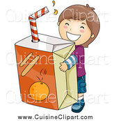 Cuisine Clipart of a Happy Caucasian Brunette Boy Carrying a Giant Orange Juice Box by BNP Design Studio