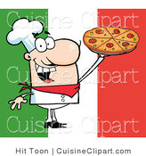 Cuisine Clipart of a Happy Caucasian Chef Presenting His Pizza Pie on an Italian Flag Background by Hit Toon