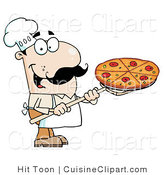 Cuisine Clipart of a Happy Caucasian Chef with a Pizza Pie on a Stove Shovel by Hit Toon