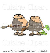 Cuisine Clipart of a Happy Caucasian Hunting Caveman and Cavewoman Armed with Weapons by Djart