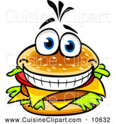 Cuisine Clipart of a Happy Cheeseburger by Vector Tradition SM