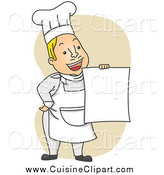 Cuisine Clipart of a Happy Chef Guy Holding up a Menu over Tan by BNP Design Studio