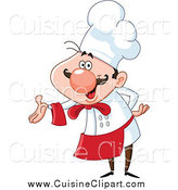 Cuisine Clipart of a Happy Chef Presenting by Yayayoyo