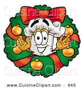Cuisine Clipart of a Happy Chefs Hat Mascot Cartoon Character in the Center of a Christmas Wreath by Toons4Biz