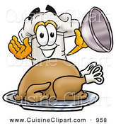 Cuisine Clipart of a Happy Chefs Hat Mascot Cartoon Character Serving a Thanksgiving Turkey on a Platter by Toons4Biz