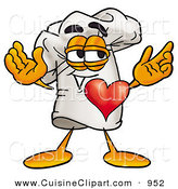 Cuisine Clipart of a Happy Chefs Hat Mascot Cartoon Character with His Heart Beating out of His Chest by Toons4Biz