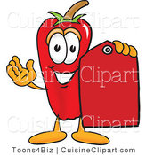 Cuisine Clipart of a Happy Chili Pepper Mascot Cartoon Character Holding a Red Price Tag by Toons4Biz