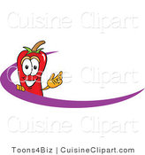Cuisine Clipart of a Happy Chili Pepper Mascot Cartoon Character Logo with a Purple Dash by Toons4Biz