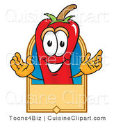 Cuisine Clipart of a Happy Chili Pepper Mascot Cartoon Character with a Blank Tan Label by Toons4Biz