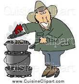 Cuisine Clipart of a Happy Cowboy Cooking on a Dutch Oven by Djart