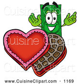 Cuisine Clipart of a Happy Dollar Bill Mascot Cartoon Character with an Open Box of Valentines Day Chocolate Candies by Toons4Biz