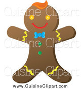 Cuisine Clipart of a Happy Gingerbread Man with Colorful Icing by Rosie Piter