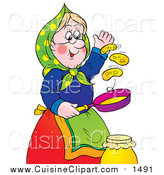 Cuisine Clipart of a Happy Granny Flipping Pancakes by Alex Bannykh