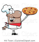 Cuisine Clipart of a Happy Hispanic Chef Holding up His Pizza Pie by Hit Toon