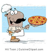 Cuisine Clipart of a Happy Hispanic Pizza Chef Carrying a Pizza Pie on a Stove Scoop by Hit Toon