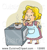 Cuisine Clipart of a Happy Home Maker Tasting Her Stew over Green by BNP Design Studio