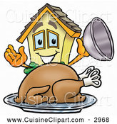 Cuisine Clipart of a Happy House Mascot Cartoon Character Serving a Thanksgiving Turkey on a Platter by Toons4Biz