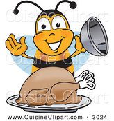 Cuisine Clipart of a Happy Hungry Bee Mascot Cartoon Character Holding the Lid to a Platter with a Thanksgiving Turkey on It by Toons4Biz