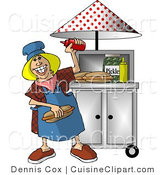 Cuisine Clipart of a Happy Lady Working at a Portable Roadside Fast Food Hot Dog Stand by Djart