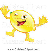 Cuisine Clipart of a Happy Lemon Waving Both Hands by AtStockIllustration