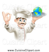 Cuisine Clipart of a Happy Male Chef Gesturing Ok and Holding a Globe on a Platter by AtStockIllustration