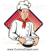 Cuisine Clipart of a Happy Male Chef Holding a Bowl and Spoon over a Ray Diamond by Patrimonio