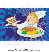 Cuisine Clipart of a Happy Male Chef Serving a Meal and Dessert by Mayawizard101