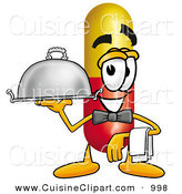Cuisine Clipart of a Happy Medicine Pill Capsule Mascot Cartoon Character Dressed As a Waiter and Holding a Serving Platter by Toons4Biz