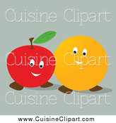 Cuisine Clipart of a Happy Orange and Apple Together by Randomway