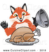 Cuisine Clipart of a Happy Orange Fox Mascot Cartoon Character Serving a Thanksgiving Turkey on a Platter by Toons4Biz