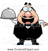 Cuisine Clipart of a Happy Plump Male Waiter Holding a Cloche Platter by Cory Thoman