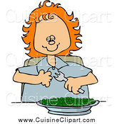 Cuisine Clipart of a Happy Red Haired White Girl Eating a Bowl of Peas by Djart