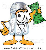 Cuisine Clipart of a Happy Salt Shaker Mascot Cartoon Character Holding a Dollar Bill by Toons4Biz