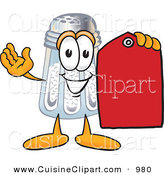 Cuisine Clipart of a Happy Salt Shaker Mascot Cartoon Character Holding a Red Sales Price Tag by Toons4Biz