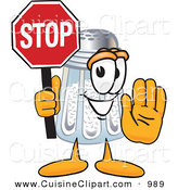 Cuisine Clipart of a Happy Salt Shaker Mascot Cartoon Character Holding a Stop Sign by Toons4Biz