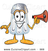 Cuisine Clipart of a Happy Salt Shaker Mascot Cartoon Character Screaming into a Megaphone by Toons4Biz