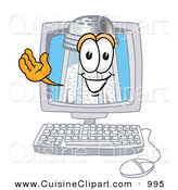 Cuisine Clipart of a Happy Salt Shaker Mascot Cartoon Character Waving from Inside a Computer Screen by Toons4Biz