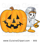Cuisine Clipart of a Happy Salt Shaker Mascot Cartoon Character with a Carved Halloween Pumpkin by Toons4Biz