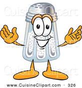 Cuisine Clipart of a Happy Salt Shaker Mascot Cartoon Character with Welcoming Open Arms by Toons4Biz