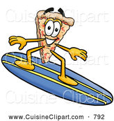 Cuisine Clipart of a Happy Slice of Pizza Mascot Cartoon Character Surfing on a Blue and Yellow Surfboard by Toons4Biz