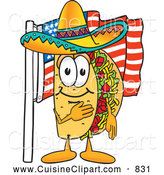 Cuisine Clipart of a Happy Taco Mascot Cartoon Character Pledging Allegiance to an American Flag by Toons4Biz