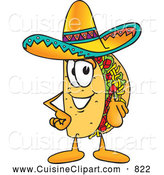 Cuisine Clipart of a Happy Taco Mascot Cartoon Character Pointing at the Viewer by Toons4Biz