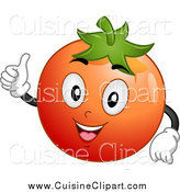 Cuisine Clipart of a Happy Tomato Holding a Thumb up by BNP Design Studio