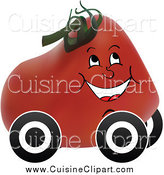 Cuisine Clipart of a Happy Tomato with Wheels by Andrei Marincas