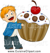 Cuisine Clipart of a Happy White Boy Carrying a Giant Cupcake by BNP Design Studio