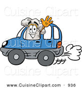 Cuisine Clipart of a Happy White Chefs Hat Mascot Cartoon Character Driving a Blue Car and Waving by Toons4Biz